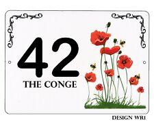 Blanc Aluminium 7x5 pouces House, Porte Nom/Numéro/Route Floral Design Plaque/Signe