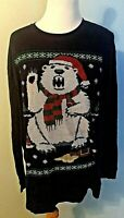 Polar Bear Navy Pullover Ugly Christmas Long Sleeve Tshirt Size XL