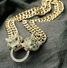 Fashion Chunky Crystal Glass Leopard Metal Gold Tone Hoop Choker necklace