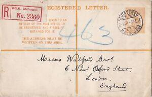 APS3021) Australia 1914 use of 1913 4d Orange Kangaroo Registered Envelope ACSC