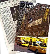 Frank Sinatra Jr. Concert Program (July 2012) from Town Hall, Nyc + 2 Obituaries