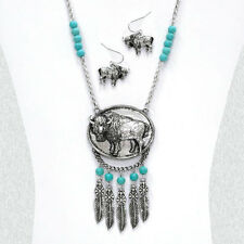 BURNISHED SILVER CARVED BUFFALO MEDALLION FEATHER TURQUOISE BEAD NECKLACE SET