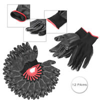Nylon PU Safety Coating Work Gloves Builders Grip Palm Protect M-XL 12 Pairs