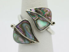 Sterling Silver .925 Stunning Abalone Leaf Adjustable Fashion Ring 2.2g H528