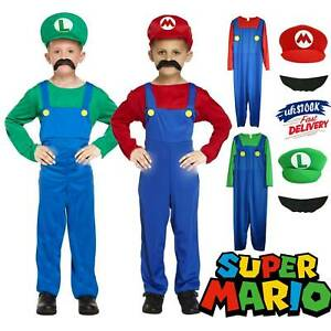 Kids Super Mario Costume Fancy Dress Up Hat Set Party Boys Girls Cosplay Outfits
