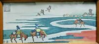 Vintage Japanese Watercolour. Horse & Riders In Landscape. Signed