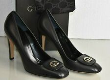 NEW GUCCI Leather Pumps Black Heels Square Toe GG Shoes 9.5
