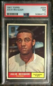 1961 Topps #329 Julio Becquer PSA 7 NM Los Angeles Angels Baseball Card