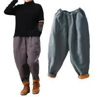 New Womens Loose Casual Thick Pants Baggy Elastic Waist Lined Warm Harem Pants B