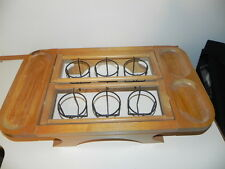 Vintage Wooden Drink Tray with 8 Green Glasses