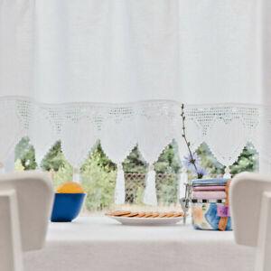 Bistro Vintage Retro Net Curtain Cottage Cotton Croched Edge Home Window Decor