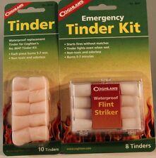 TINDER KIT WITH WATERPROOF FLINT MATCH STRIKER  & REFILL = 18 TINDER'S IN CASE