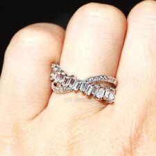 2018 Elegant White Sapphire 925 Silver Filled Birthstone Engagement Wedding Ring