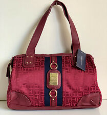 NEW! TOMMY HILFIGER RED BOWLER SATCHEL TOTE PURSE HANDBAG $85 SALE