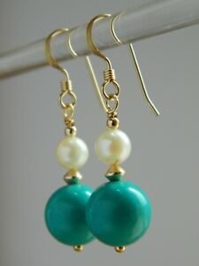 Natural Turquoise Gemstones, Antique Cultured Pearls & 14ct Rolled Gold Earrings