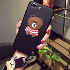 Cartoon Line Friends Brown Cony Strap Soft Case Cover For iPhone X 8 6s 7 7Plus