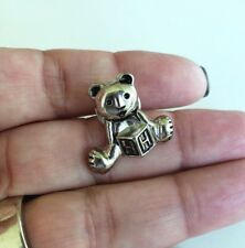 Vintage Sitting Teddy Bear Silver Tone Tie Tack Pin HH Cube Hale House