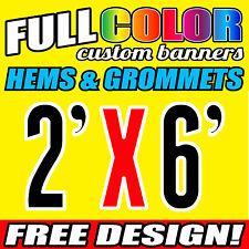 2' x 6' Full Color Custom Banner, 16oz Vinyl  FREE GROMMETS Free Graphic Design