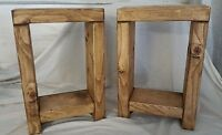 Hand Made Solid Wood Chunky Rustic Pair of Side/Lamp/Bedside Tables