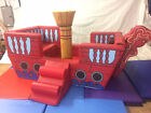 Pirate Ship Soft Play  7ft x 5ft x5 approx vel-cro together inc Slide step plank