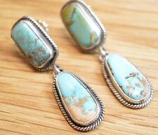 Annie Hoskie Navajo Battle Mountain Turquoise Dangle Post Earrings 4318