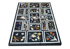 4'x2' Black Marble Corner Dining Table Inlay Marquetry Living Room Decor H3004A