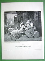RUSTIC FAMILY Children Play with Sheep Lamp - VICTORIAN Antique Print Engraving