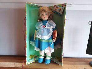 "Vintage LENCI Felt Doll IN BOX Tags Certificat 20"" Blue eyes"
