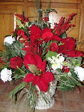 Merry Christmas Day Porch Urn Red White Silk Flowers Cemetery Garden Grave