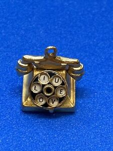 """Vintage 14K Yellow Gold Rotary Telephone Charm with """"I LOVE U"""" on the Dial"""