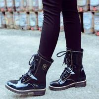 Womens shoes lace up patent leather punk combat gothic ladies mid calf boots sz