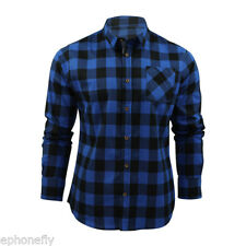 Men's Long Sleeve Flannel Casual Check Print Cotton Work Flannel Plaid Shirt Top