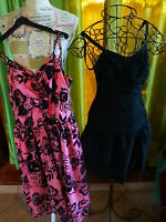 lot 2robes a bretelles T1/2,grande fillette ou femme menue noire et rose parme