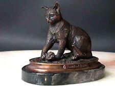 Bronze Cat Sculpture Signed Feline Art