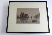 ANTIQUE SIGNED LITHOGRAPH BRIXHAM BOATS IN THE HARBOUR - CHARLES W ?