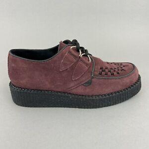 Underground Shoes Wulfrun Burgundy Suede Double Sole Punk Gothic Creepers UK7