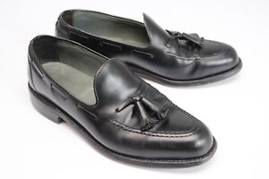 VTG Footjoy Classic Tassel Moc Loafers Shoes 8.5 D Black Leather Slip On USA