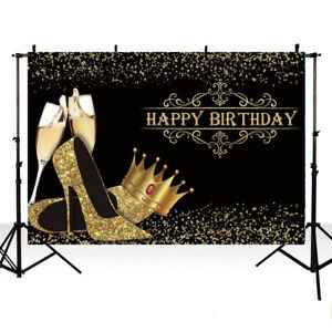 Happy Birthday Backdrop Banner Photography Background Happy Shiny Golden Crown