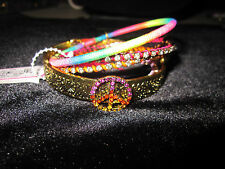Betsey Johnson ST BART5 BANGLE MUTLI COLORED AND BLING PEACE SIGN BRACELET