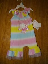 Bonnie Jean Baby Girls 6-9 Months Striped Unicorn Coverall NWT