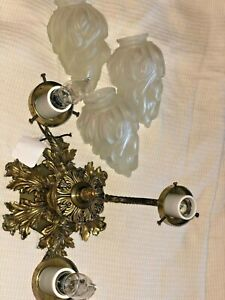 ANTIQUE VNTG BRASS 3 BRANCH FROSTED GLASS PETAL SHADE KAGAN CEILING LIGHT LAMP