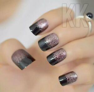 red shimmer Fake Nails With Glitter 24pcs Acrylic Full Square False Nails