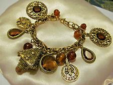 AMAZING RARE VTG 40s Florenza Fleur de Lis Glass Charm Etruscan FOB HTF Bracelet