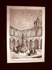 Incisione di Gustave Dorè del 1874 Cortile Palazzo di San Telmo Siviglia Spagna