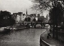 1927 Vintage FRANCE Paris Ile de la Cite Seine River Island Photo Art HURLIMANN