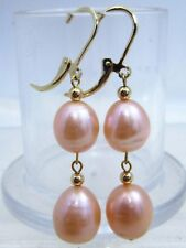 fine 10-12MM south sea pink pearl earrings 14k gold dangle style