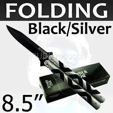 "8.5"" Folding Knife BLACK / SILVER Tactical Pocket Knives Stainless Steel PK73"