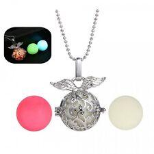 Hollow Steampunk Fairy Ball Angel Glow In The Dark Locket Necklace 3 Beads Wings