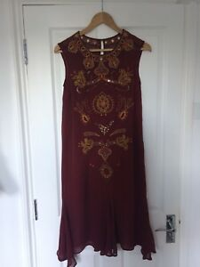 Monsoon Bordeaux Maroon Embroidered Beaded Midi Sheer Dress Size 10