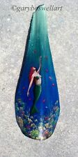 Mermaid painted Palm Tree Frond Nautical Decor ariel art beach painting disney